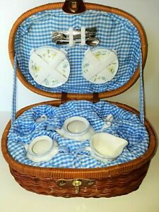Delton Children's Porcelain Tea Set for 2 in Wicker Basket (missing cups)