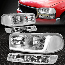 FOR 99-07 GMC SIERRA/YUKON LED DRL CHROME CLEAR HEADLIGHTS W/BUMPER SIGNAL LAMPS