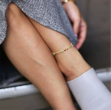 Vintage Women Colorful Crystal Ankle Bracelet Anklet Chain Foot Beach Jewelry