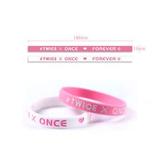 2Pcs Kpop Twice Silicone Bracelet Wristband Bangle - White + Black