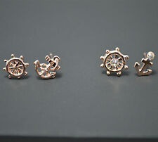 Small Anchor&Helm Crystal Stud Earrings Set 2 Pack Pair 14K/14ct Rose Gold Pl