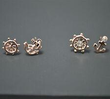 Paquete De 2 par 14K/14ct oro rosa pl Pequeño Anchor & hel m Cristal Aretes Conjunto
