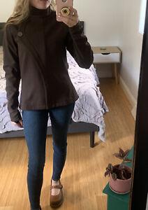 Pearl Izumi Soft Shell Jacket Women's Size Medium Brown Snap & Zip Up Cycling