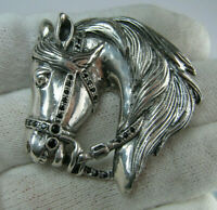 925 Sterling Silver Pin Brooch Horse Head Harness Gear Equestrian Sport Big 005