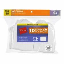 HANES WOMEN'S NO SHOW SOCKS WHITE 10 PACK SHOE SIZE 5-9