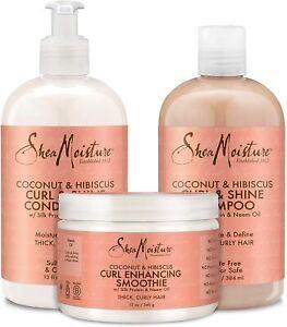 Shea Moisture Coconut & Hibiscus Curl Shampoo 13oz+ Conditioner 13oz+ Smoothie