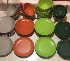 LOT 40 pieces BRANCHELL COLOR FLYTE MELMAC Mid Century Retro DISHES Green Copper