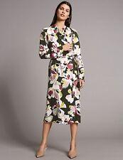 M/&S AUTOGRAPH Floral Print Tie Detail Shirt Midi Dress PRP £65