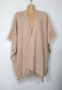 DOROTHY PERKINS soft brown fine-knit open-front fringed poncho cardigan, M/12-14