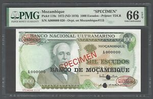 Mozambique 1000 Escudos 1972(ND 1976) P119s Specimen Uncirculated Grade 66