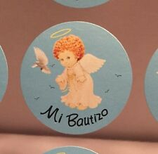 "Mi Bautizo ""Baptism"" Sticker Embellishments For Favors, Invitations Blue 100/pk"