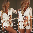 Women Ladies White Romper Playsuit Top Shirt Jumpsuit Summer Shorts Beach Dress