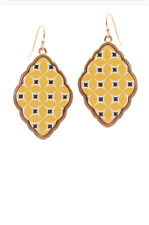 NEW!! INSPIRED  MOROCCAN FISH HOOK BAROQUE EARRINGS - YELLOW