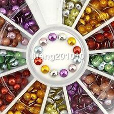 3MM Acrylic Glitter Alloy Nail Art Rhinestone Wheel Decorations Tool Supplies