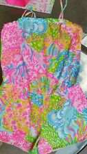 Lilly Pulitzer Girls Peyton Romper More Lovers Coral Size XL 08028B