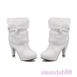 Womens Winter High Heels Fur Trim Ankle Boots Warm Lining Party Shoes Bows Boots