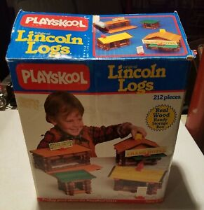 Vintage 1986 Playskool Original Lincoln Log Set Containing 165 of 212 Pieces