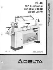 Delta Dl 40 16 Vs Wood Lathe Instructions Manual Amp Parts List Pdf