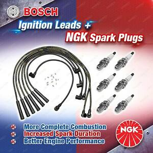 6 x NGK Spark Plugs + Bosch Leads for Mercedes Benz 280 W114 W123 280SEL W116