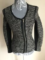 Jane Norman Women Zip Cardigan Size 8 Grey Silver Sparkly Fitted With Pockets