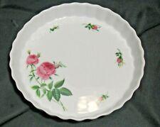 "Christineholm Porcelain Bakeware 9.5"" Fluted Quiche Tart Pie Dish Pan Pink Rose"