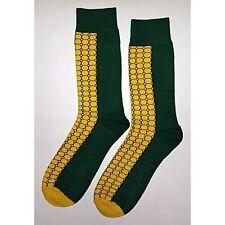 NWT Big Corn Cob Dress Socks Novelty Men 8-12 Green and Yellow Fun Sockfly