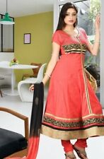 Coral Orange Cotton Anarkali Suit with Golden Black Lace -Chiffon Dupatta