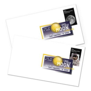NASA FIRST MOON LANDING 5399-5400 US 7.20.69  FOREVER STAMP 2 DCP 1ST DAY COVERS