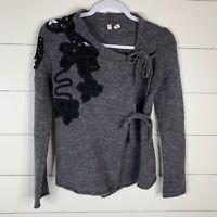 Moth Anthropologie Womens Gray Size Small Crochet Shoulder Wool Blend Sweater