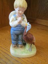 "Homco Denim Days No. 1506 Boy Praying by Turkey Figurine 5 1/4"" Tall"