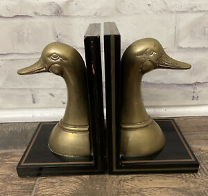 Great City Traders Vintage Solid Brass Duck Book Ends Wood Base Korea