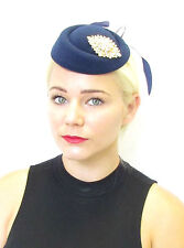 Navy Blue Gold Feather Pillbox Hat Fascinator Races Vintage Hair Silver 40s 571