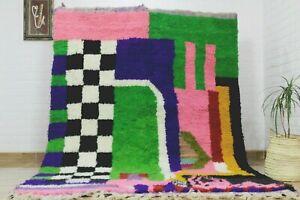 Moroccan Boujaad Rug Handmade Pink Rug 8x5 Checkered Berber White Black Wool Rug