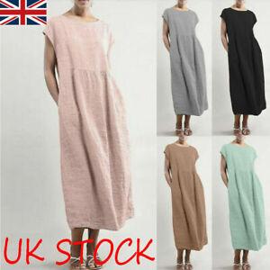Ladies Summer Short Sleeve Baggy Cotton Linen Kaftan Midi Shift Dress Plus Size