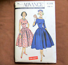 Dress BASQUE TOP BOUFFANT Gore SKIRT Size 14 Vintage Sewing Pattern Advance 8398