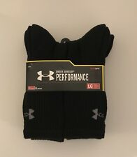 Under Armour Performance Heat Gear Men Crew Socks 6 Pair Cotton Large Variey