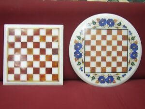 """Set of two 12"""" Marble Chess Table Top Handmade Inlay Semi Precious Stones Work"""