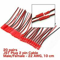 40x JST Plug Connector 2 Pin Male Female Plug Connector Cables Wires L6C0 Q5D6