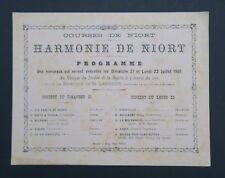 Carte d'invitation Courses de NIORT juillet 1901 concert Deux-Sèvres