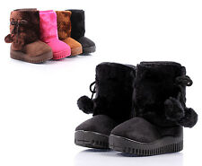 Black Faux Suede Faux Fur Cute Booties Toddlers Kids Girls Winter Boots Size 4