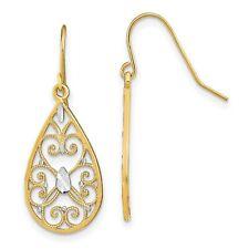 Fancy Dangle Wire Earrings In Real 14k Yellow Two Tone Gold 1.46gr