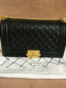 Authentic+* CHANEL +* Black Boy caviar leather Bag ,Gold Hardware
