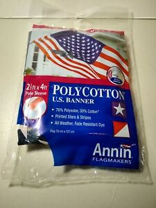 US United States American Banner Flag 2.5' x 4' w/ Pole Sleeve Polycotton