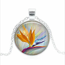 Bird of Paradise Tibet silver Glass dome Necklace chain Pendant Wholesale