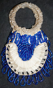 Vintage Miniature Glass Beaded  Purse Blue & Clear Loop Handles Maybe for a Doll