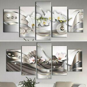 5 Pcs Modern Flower Canvas Painting Wall Art Home Decor Picture Print Decor Set