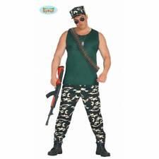 Homme Adulte Militaire T-Shirt & Pantalon Soldat Armée Costume Déguisement