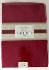 Kitchen Tablecloth Burgundy Red Luxury 70 Inch Round Scroll Pattern Fabric
