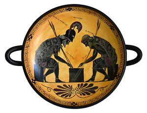 Achilles and Ajax Black Figure small Kylix Vase - Exekias Vatican Museum Replica