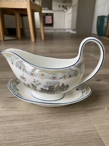 Wedgwood Chinese Legend Gravy Boat & Stand Plate Sauce Boat Pagoda Design GC